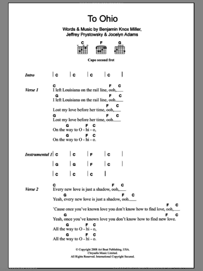 To Ohio sheet music for guitar (chords) by The Low Anthem. Score Image Preview.