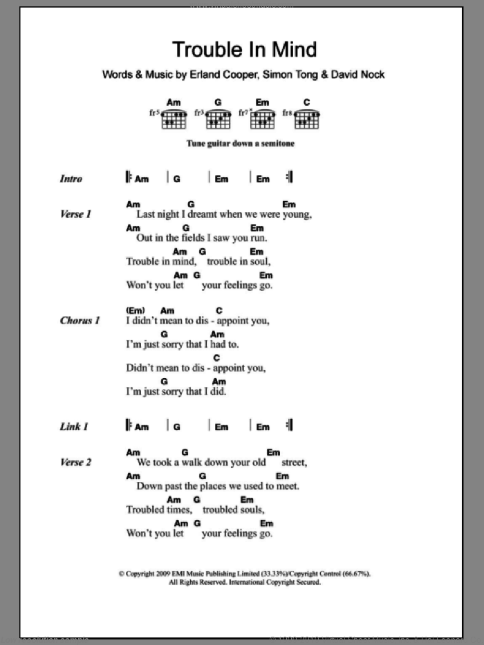 Trouble In Mind sheet music for guitar (chords, lyrics, melody) by Simon Tong
