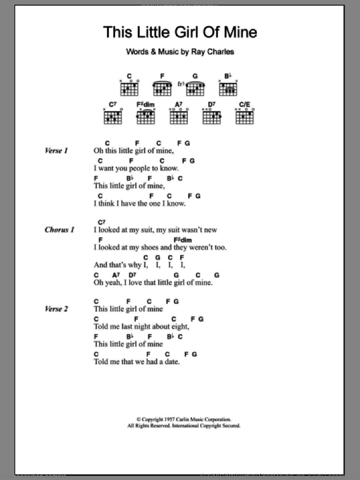 This Little Girl Of Mine sheet music for guitar (chords) by Ray Charles, intermediate