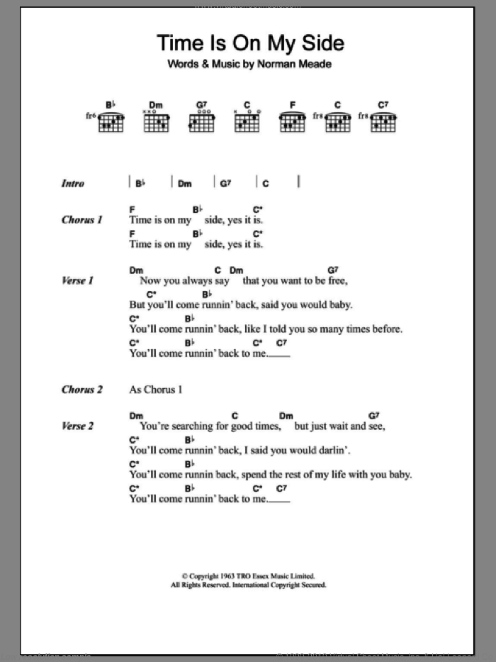 Time Is On My Side sheet music for guitar (chords) by The Rolling Stones and Norman Meade, intermediate skill level