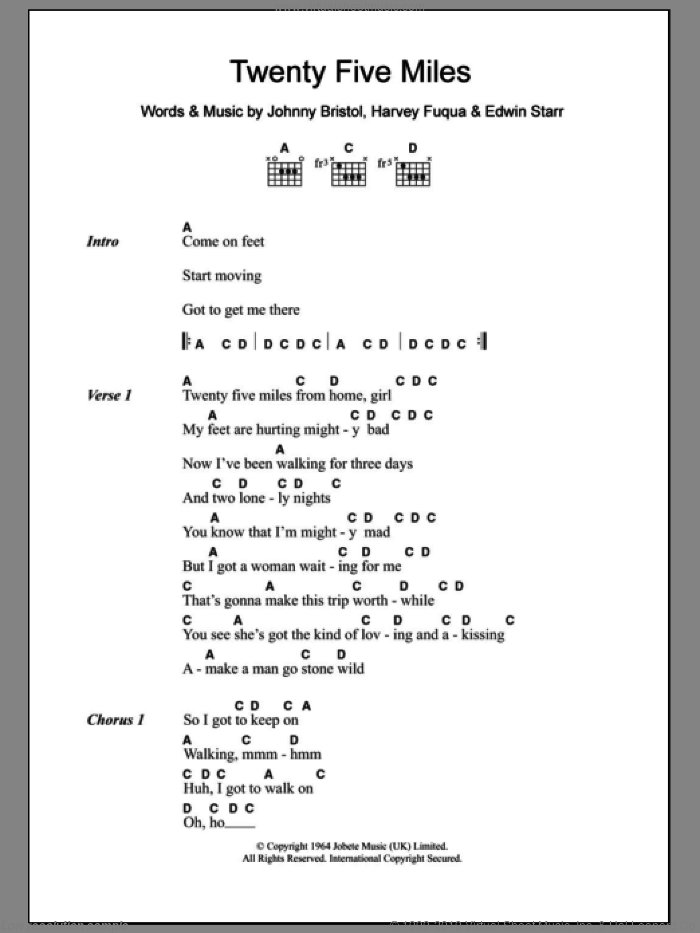 Twenty Five Miles sheet music for guitar (chords) by Edwin Starr, intermediate. Score Image Preview.