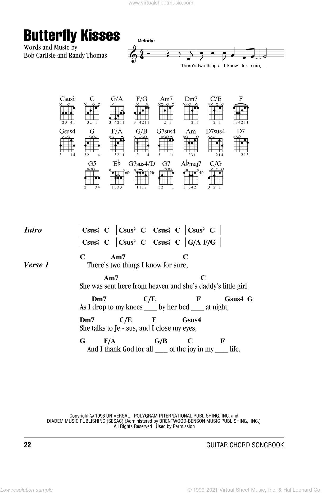 Butterfly Kisses sheet music for guitar (chords) by Bob Carlisle, wedding score, intermediate guitar (chords)
