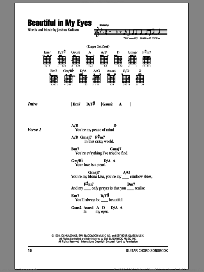 Beautiful In My Eyes sheet music for guitar (chords) by Joshua Kadison. Score Image Preview.
