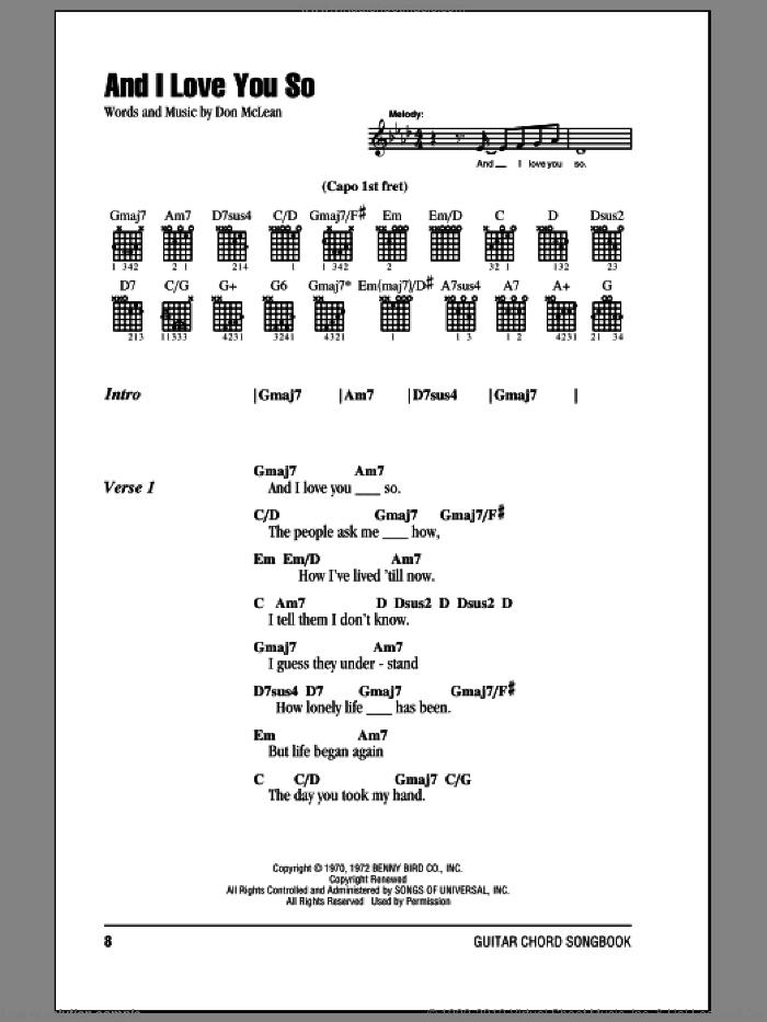 And I Love You So sheet music for guitar (chords) by Don McLean and Bobby Goldsboro, wedding score, intermediate skill level