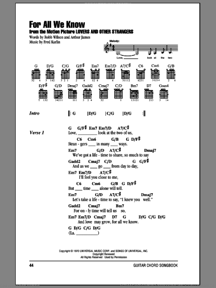For All We Know sheet music for guitar (chords) by Robb Wilson, Carpenters and Fred Karlin