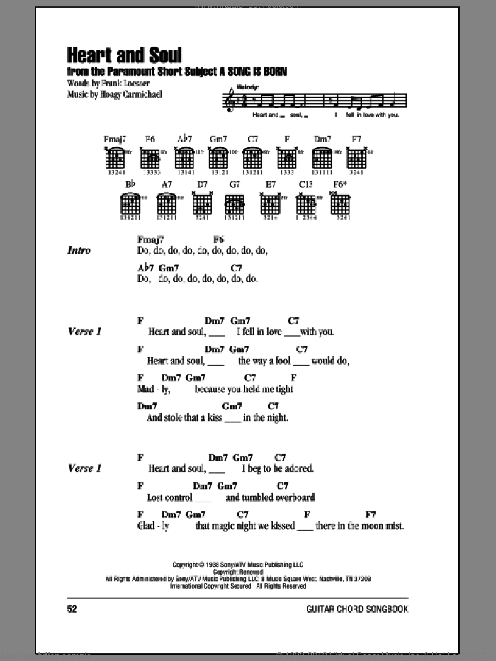 Heart And Soul sheet music for guitar (chords) by Frank Loesser and Hoagy Carmichael. Score Image Preview.