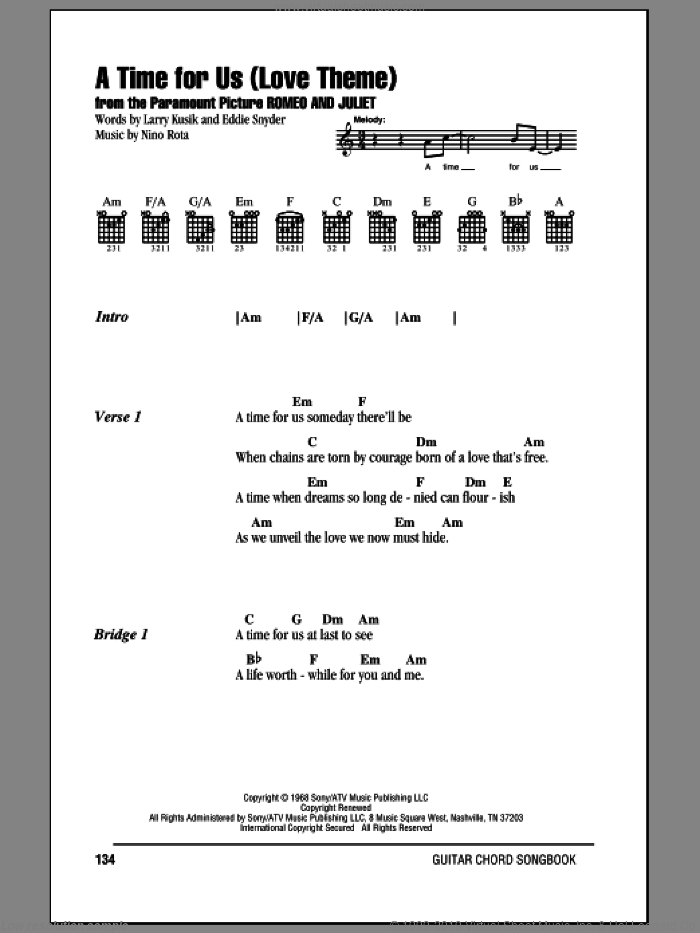 A Time For Us (Love Theme) sheet music for guitar (chords) by Larry Kusik, Eddie Snyder and Nino Rota. Score Image Preview.
