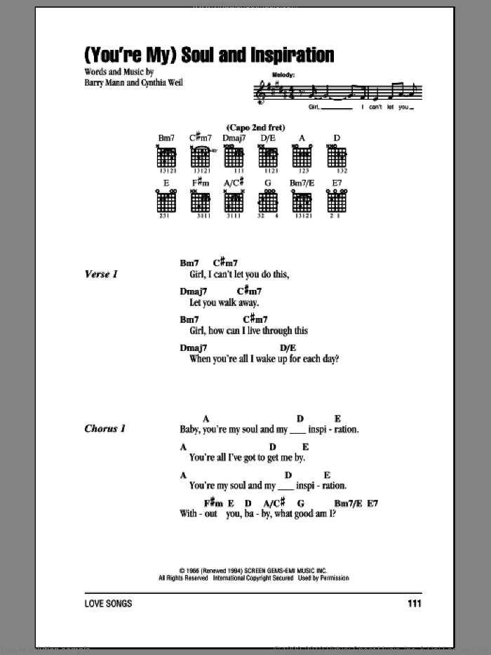(You're My) Soul And Inspiration sheet music for guitar (chords) by The Righteous Brothers, Barry Mann and Cynthia Weil, wedding score, intermediate guitar (chords). Score Image Preview.