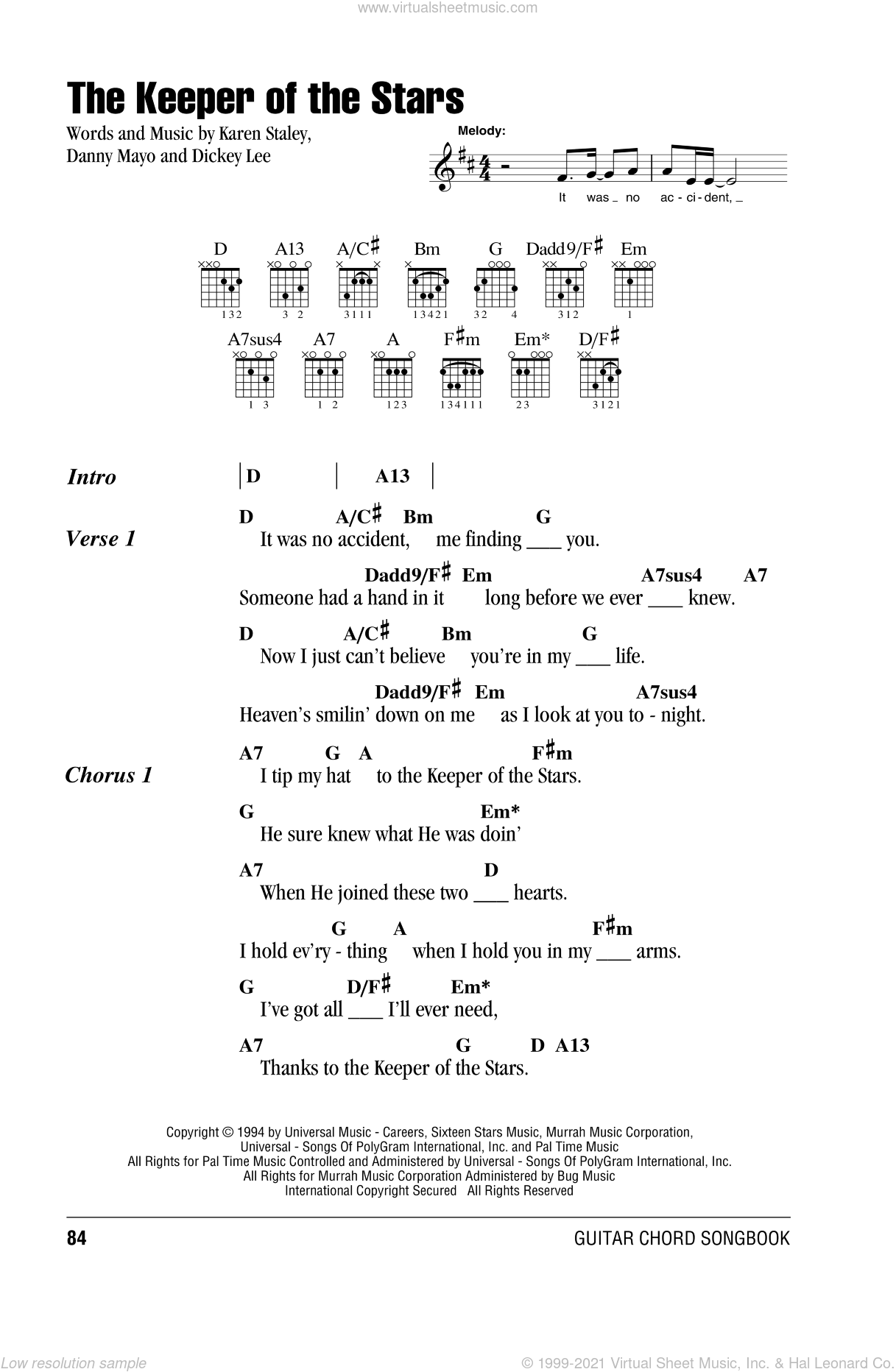 The Keeper Of The Stars sheet music for guitar (chords) by Tracy Byrd, Danny Mayo, Dickey Lee and Karen Staley, wedding score, intermediate. Score Image Preview.