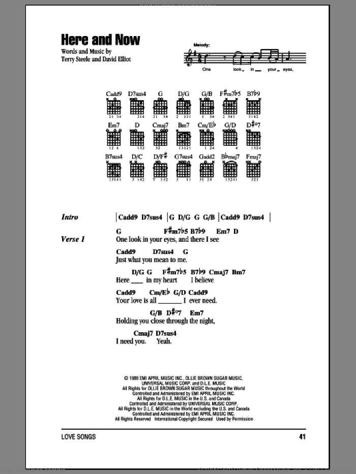 Here And Now sheet music for guitar (chords) by Terry Steele and Luther Vandross. Score Image Preview.