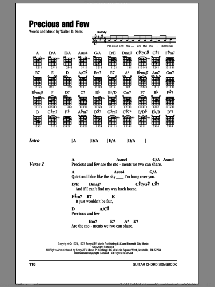 Precious And Few sheet music for guitar (chords) by Climax and Walter D. Nims, wedding score, intermediate. Score Image Preview.