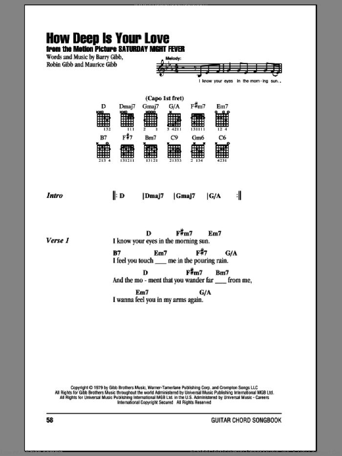 How Deep Is Your Love sheet music for guitar (chords) by Barry Gibb, Bee Gees, Maurice Gibb and Robin Gibb. Score Image Preview.