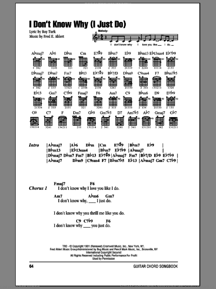 I Don't Know Why (I Just Do) sheet music for guitar (chords) by Frank Sinatra, Fred Ahlert and Roy Turk, intermediate guitar (chords). Score Image Preview.