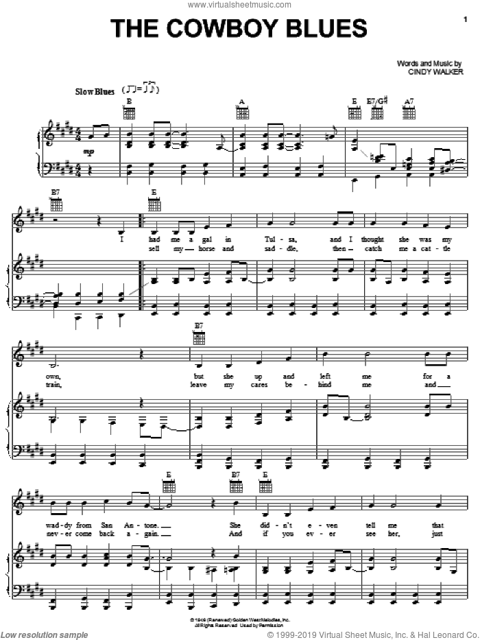 The Cowboy Blues sheet music for voice, piano or guitar by Cindy Walker, Don Edwards and Gene Autry, intermediate skill level