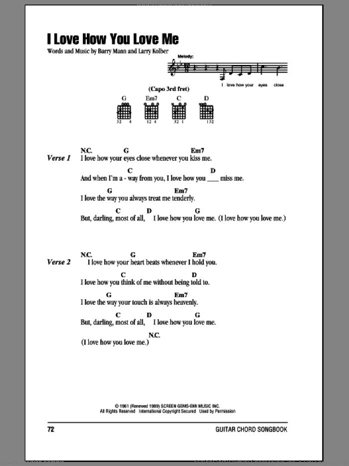 I Love How You Love Me sheet music for guitar (chords) by The Paris Sisters, Barry Mann and Larry Kolber, wedding score, intermediate skill level
