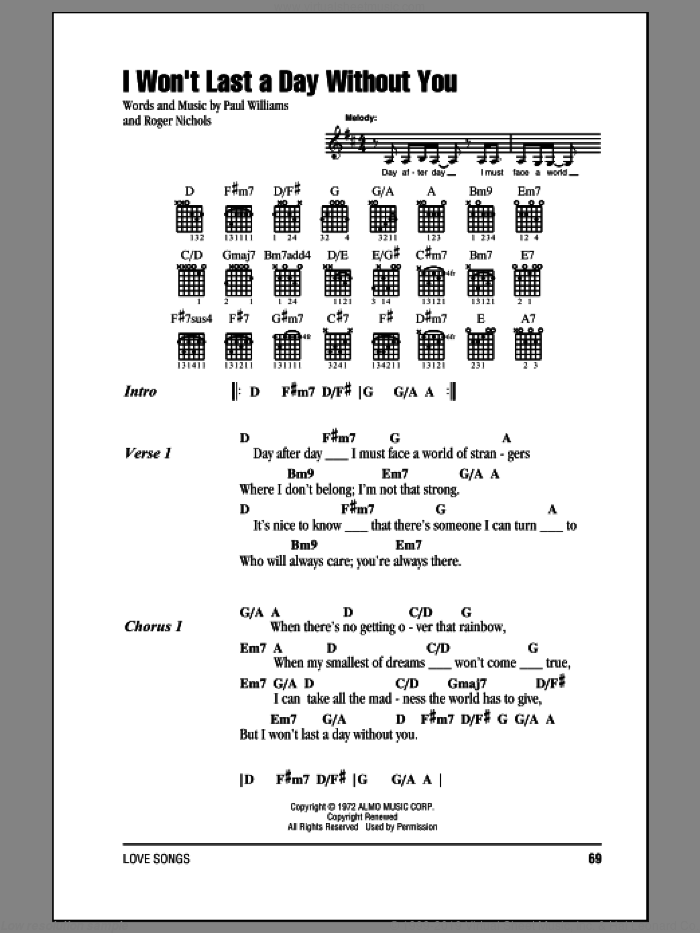 I Won't Last A Day Without You sheet music for guitar (chords, lyrics, melody) by Roger Nichols