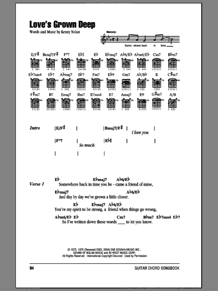 Love's Grown Deep sheet music for guitar (chords) by Kenny Nolan, intermediate skill level
