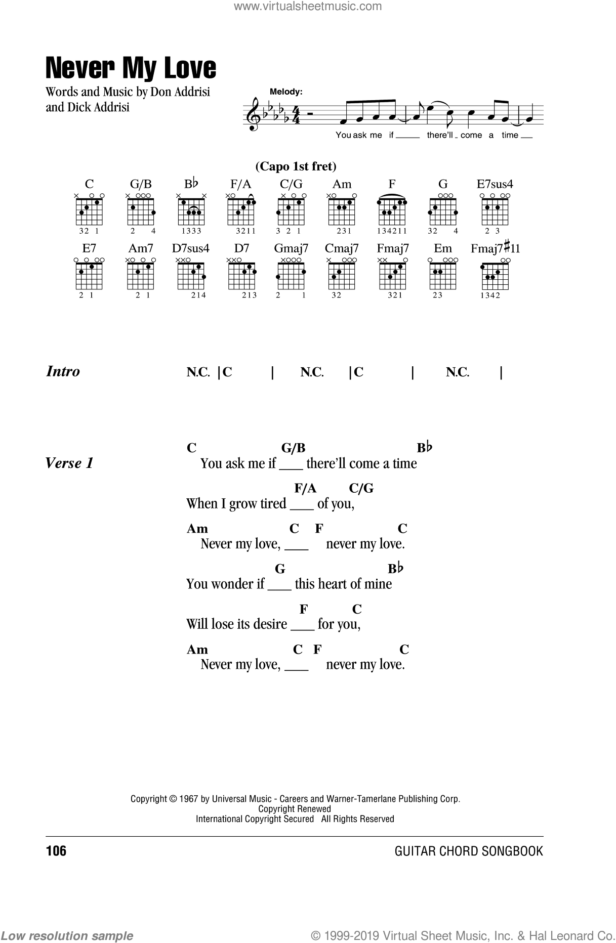 Never My Love sheet music for guitar (chords) by Don Addrisi, The Association, The Fifth Dimension and Dick Addrisi. Score Image Preview.