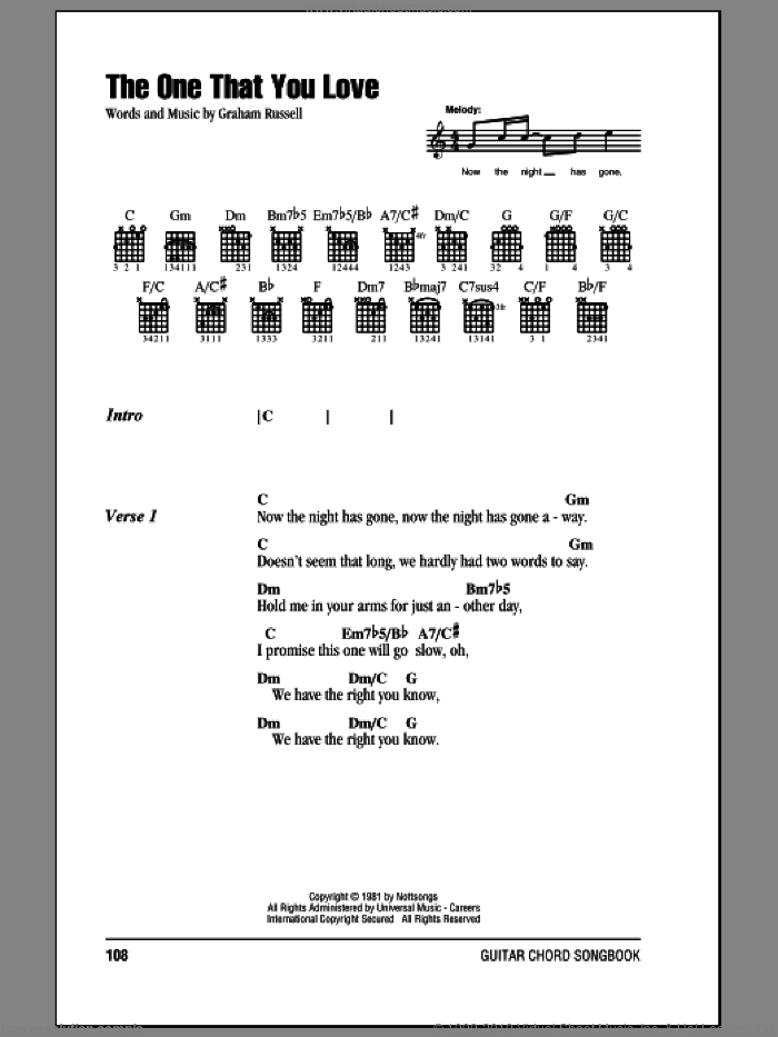 The One That You Love sheet music for guitar (chords) by Graham Russell