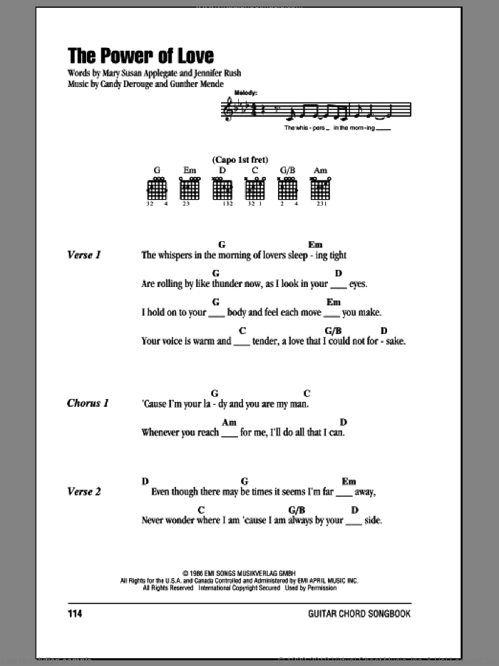 The Power Of Love sheet music for guitar (chords) by Mary Susan Applegate