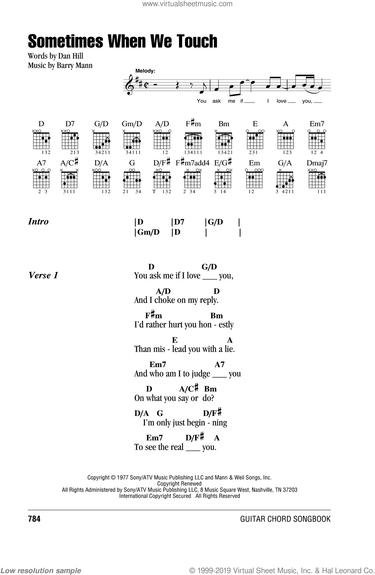 Sometimes When We Touch sheet music for guitar (chords) by Dan Hill and Barry Mann, wedding score, intermediate. Score Image Preview.