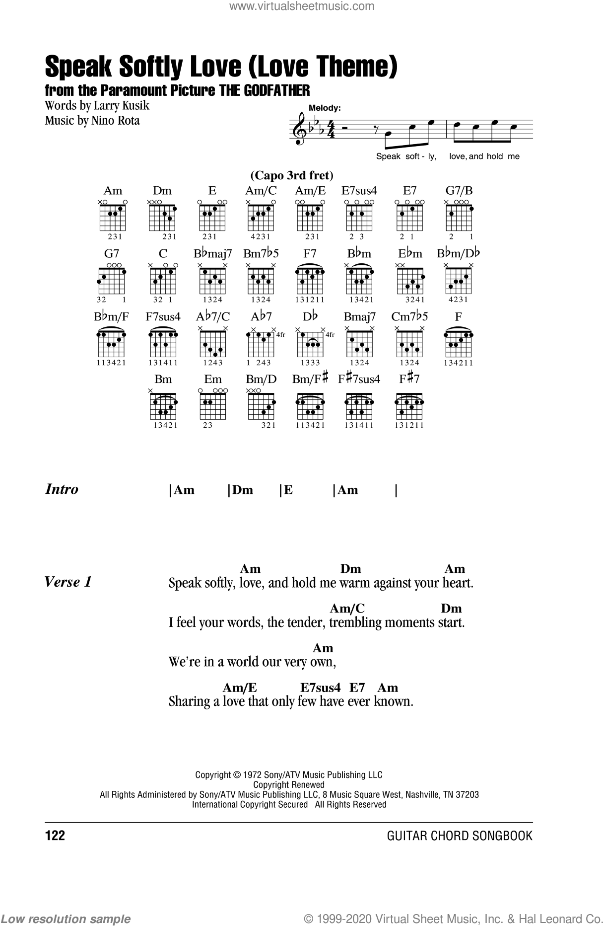 Speak Softly, Love (Love Theme) sheet music for guitar (chords) by Andy Williams, Larry Kusik and Nino Rota, intermediate