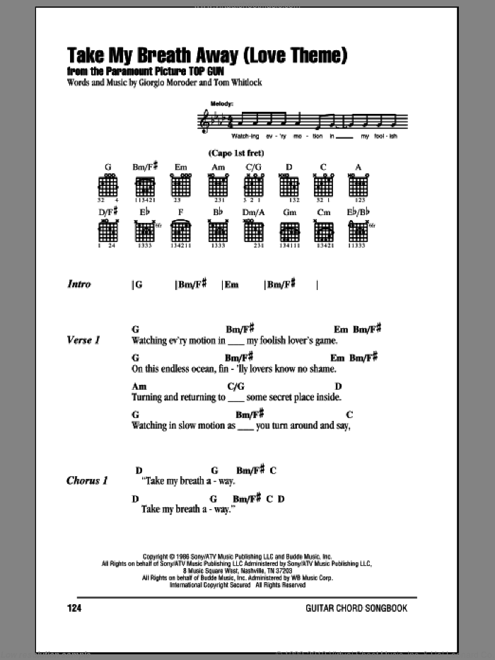 Take My Breath Away (Love Theme) sheet music for guitar (chords) by Berlin and Giorgio Moroder. Score Image Preview.