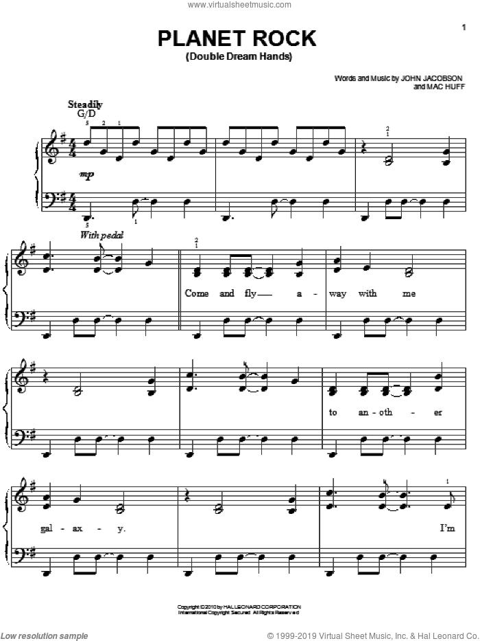 Planet Rock sheet music for piano solo by John Jacobson and Mac Huff, easy. Score Image Preview.
