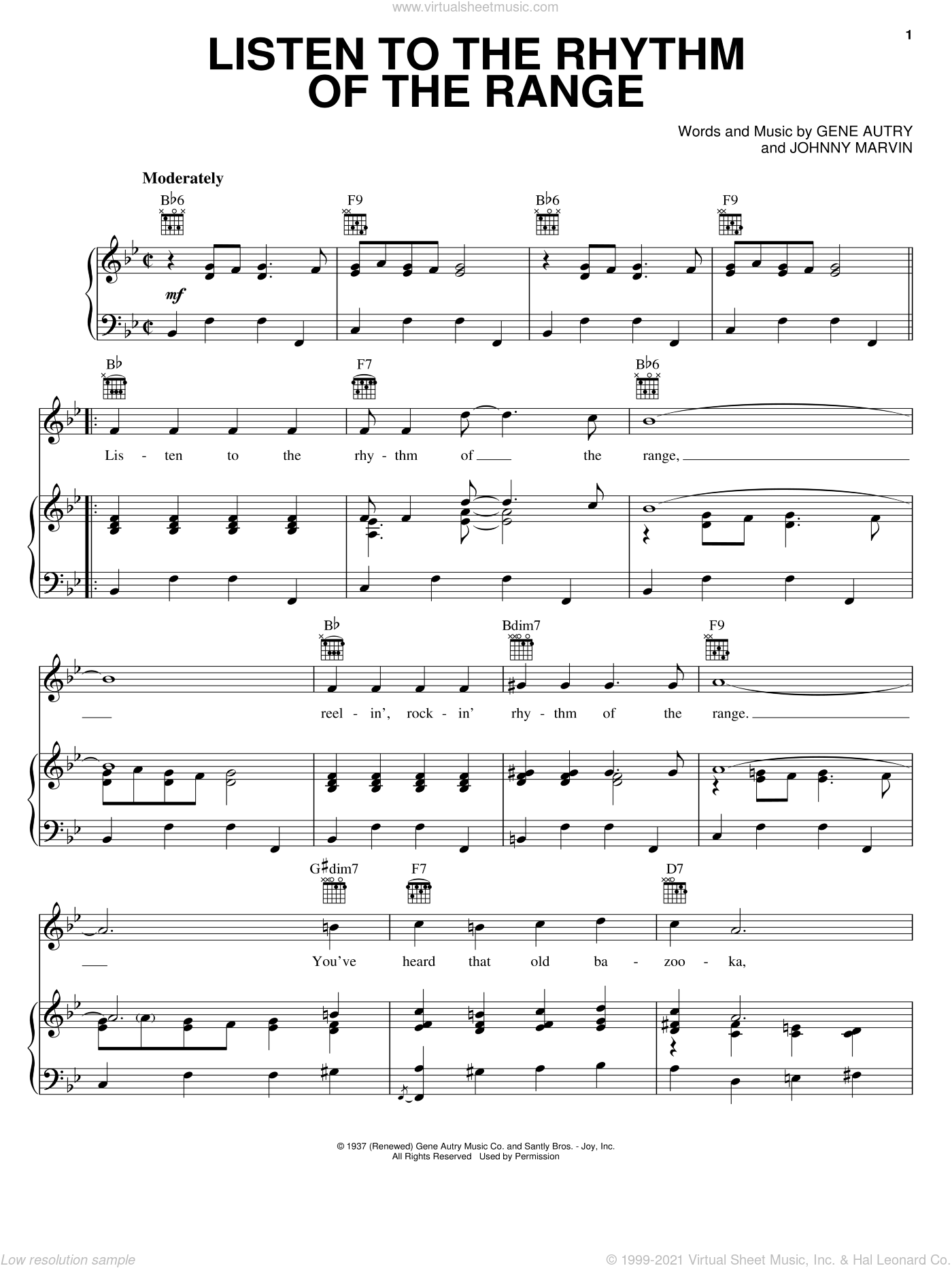 Listen To The Rhythm Of The Range sheet music for voice, piano or guitar by Johnny Marvin and Gene Autry. Score Image Preview.