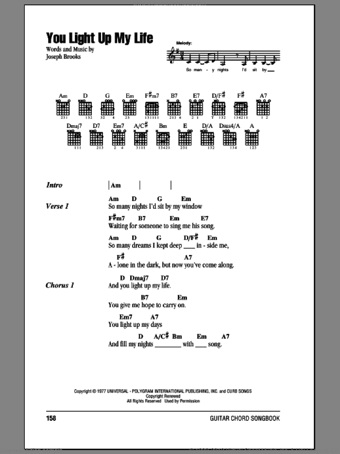 You Light Up My Life sheet music for guitar (chords) by Debby Boone and Joseph Brooks, wedding score, intermediate