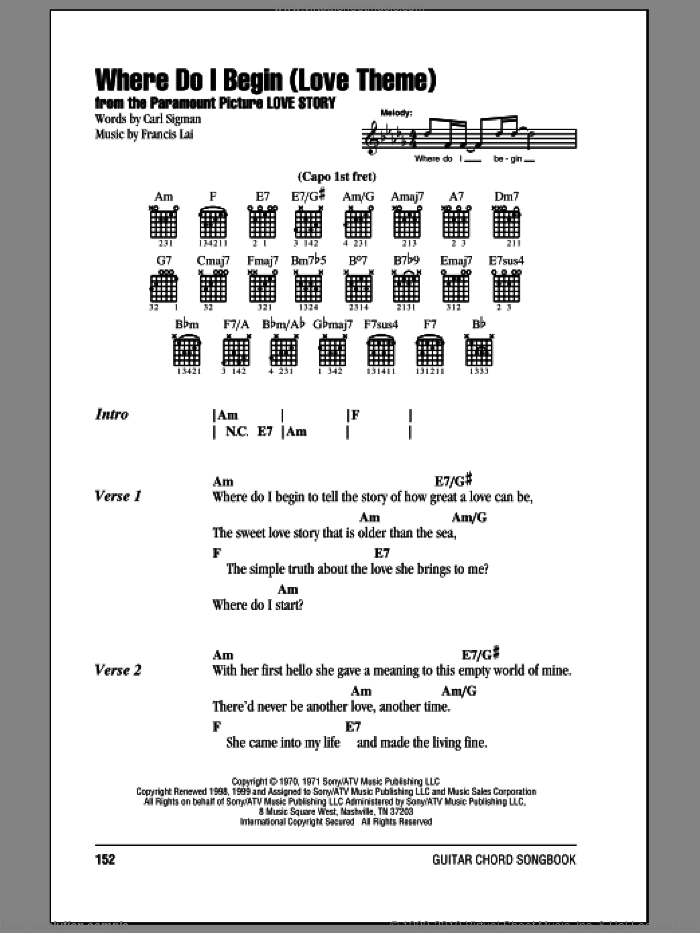 Where Do I Begin (Love Theme) sheet music for guitar (chords) by Andy Williams, Carl Sigman and Francis Lai, intermediate guitar (chords). Score Image Preview.