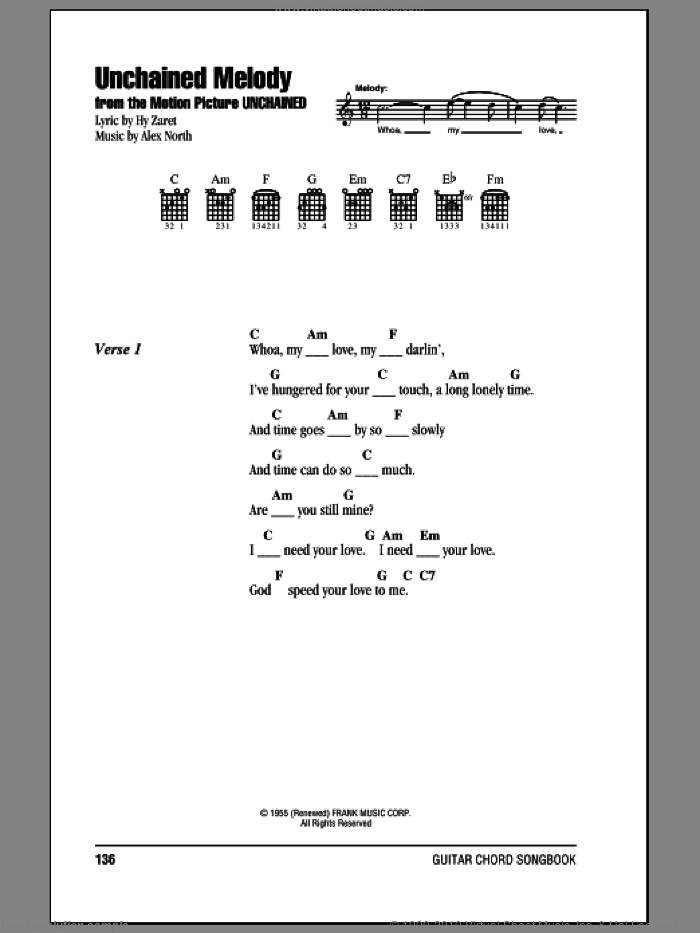 Brothers - Unchained Melody sheet music for guitar (chords) [PDF]