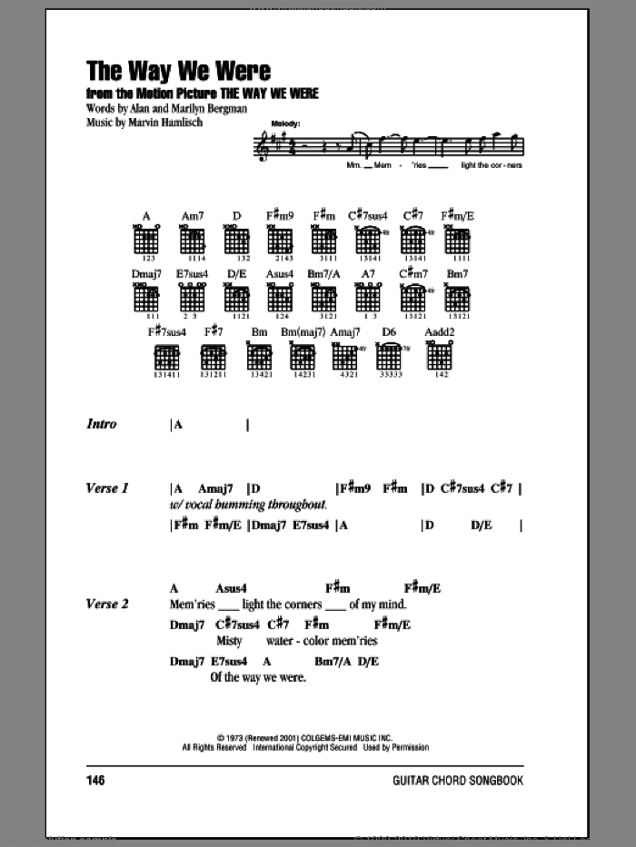 The Way We Were sheet music for guitar (chords) by Barbra Streisand, Alan Bergman, Marilyn Bergman and Marvin Hamlisch, intermediate. Score Image Preview.
