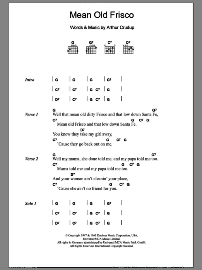 Mean Old Frisco sheet music for guitar (chords) by Arthur Crudup and Eric Clapton. Score Image Preview.