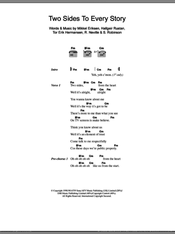 Two Sides To Every Story sheet music for guitar (chords) by Tor Erik Hermansen, Ben Folds Five, Mikkel Eriksen and Sylvia Robinson. Score Image Preview.