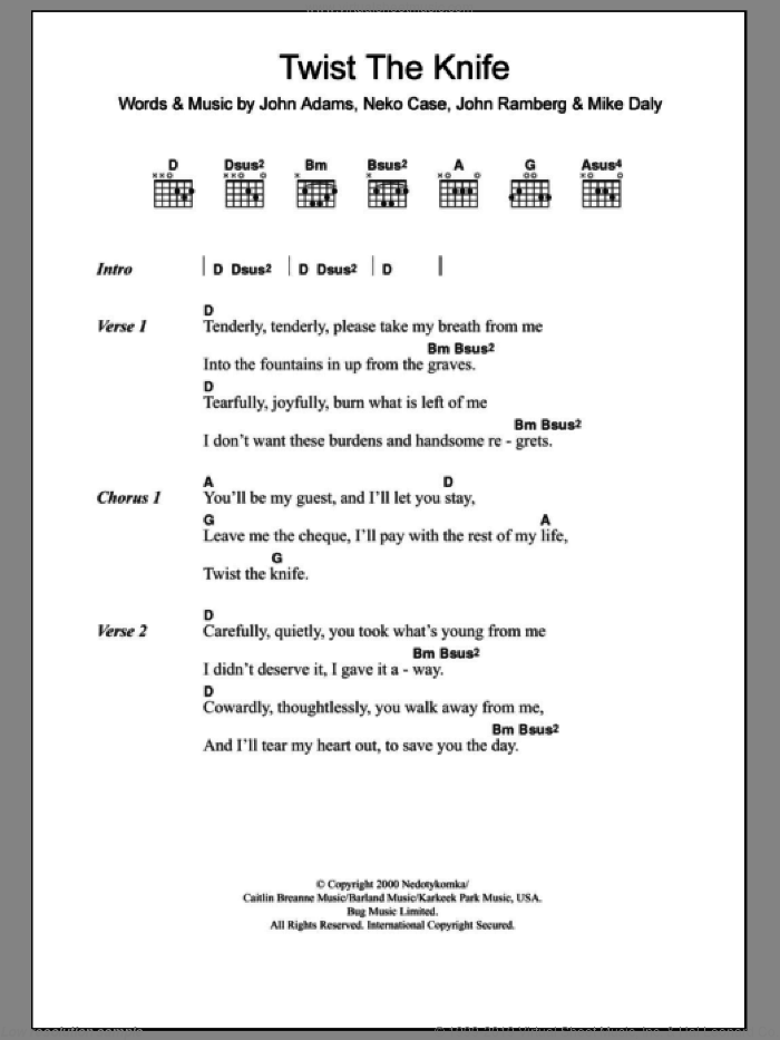 Twist The Knife sheet music for guitar (chords) by Mike Daly