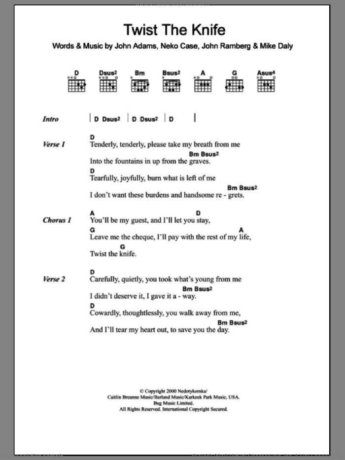 Twist The Knife sheet music for guitar (chords) by Neko Case, John Adams, John Ramberg and Mike Daly, intermediate skill level