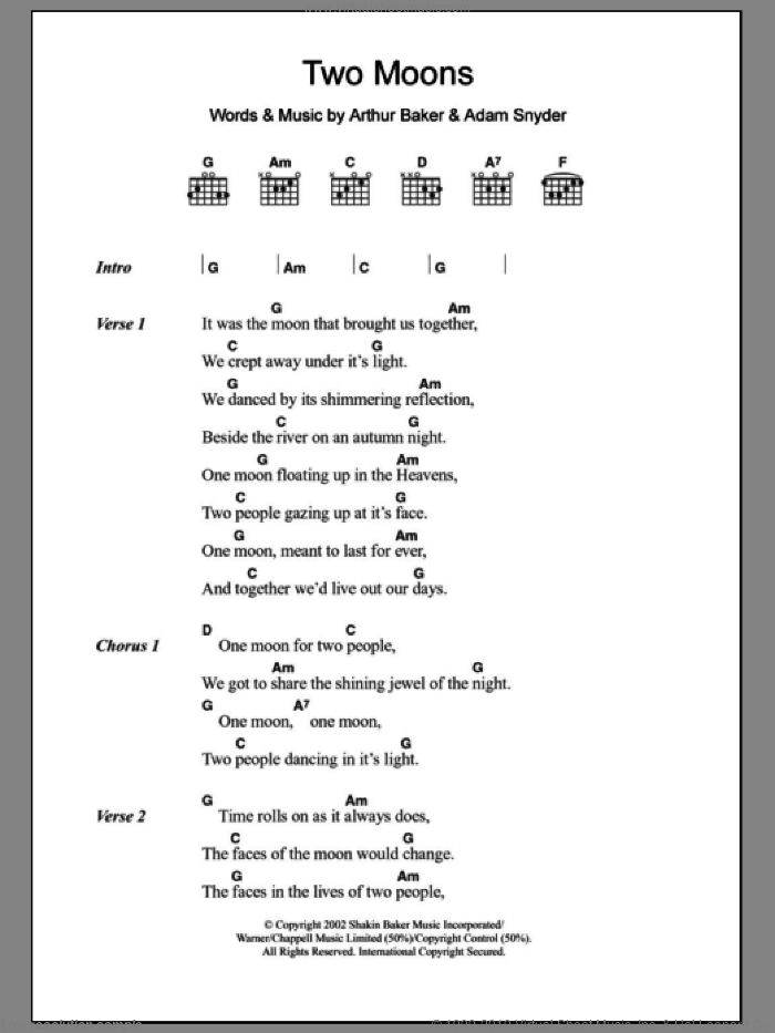 Two Moons sheet music for guitar (chords) by Arthur Baker and Adam Snyder. Score Image Preview.