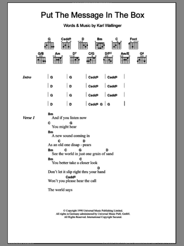 Put The Message In The Box sheet music for guitar (chords) by World Party and Karl Wallinger, intermediate guitar (chords). Score Image Preview.
