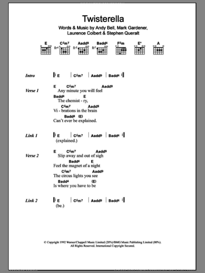 Twisterella sheet music for guitar (chords) by Ride, Andy Bell, Laurence Colbert, Mark Gardener and Stephen Queralt, intermediate. Score Image Preview.