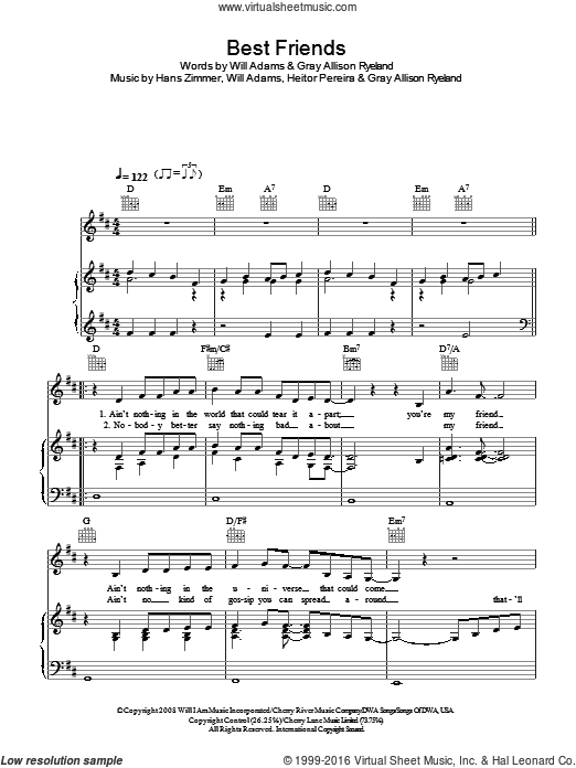 Best Friends sheet music for voice, piano or guitar by Will Adams