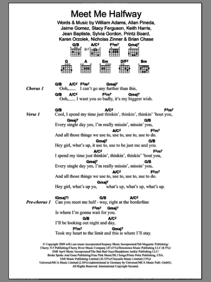 Meet Me Halfway sheet music for guitar (chords) by Will Adams, Black Eyed Peas, Allan Pineda, Brian Chase, Jaime Gomez, Jean Baptiste, Karen Orzolek, Keith Harris, Nick Zinner, Printz Board, Stacy Ferguson and Sylvia Gordon, intermediate skill level