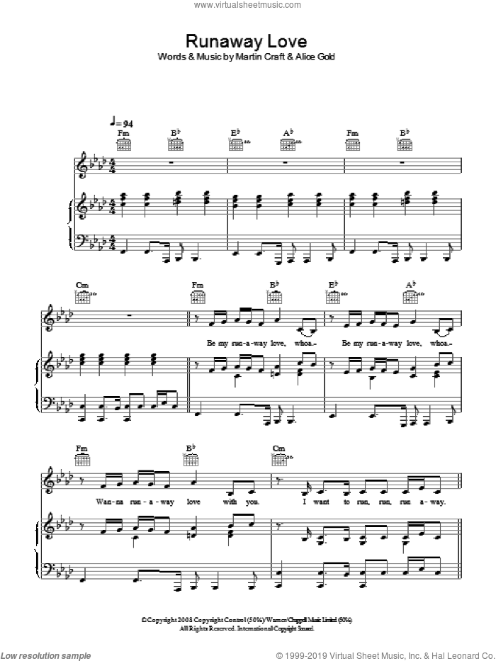 Runaway Love sheet music for voice, piano or guitar by Martin Craft