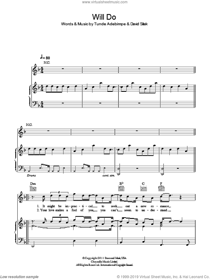 Will Do sheet music for voice, piano or guitar by Tunde Adebimpe