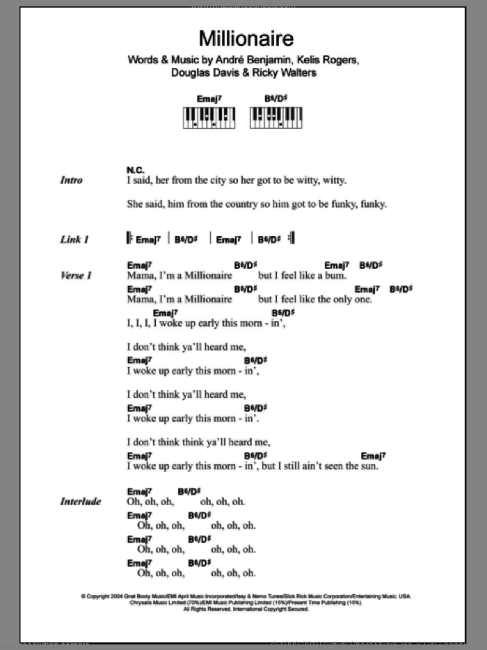 Millionaire sheet music for piano solo (chords, lyrics, melody) by Ricky Walters