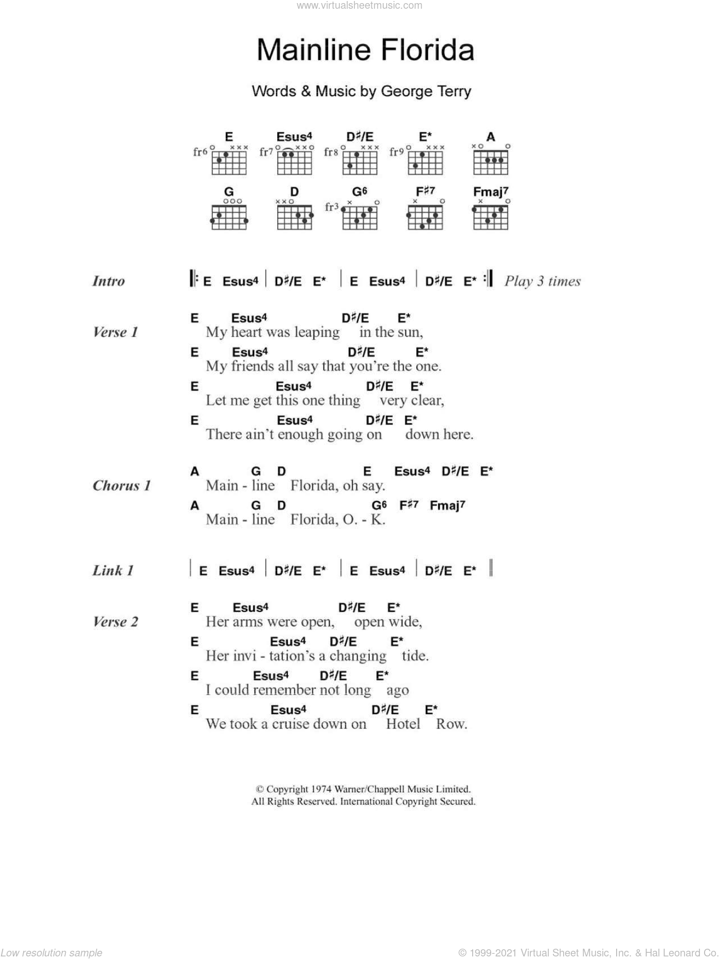 Mainline Florida sheet music for guitar (chords) by Eric Clapton and George Terry. Score Image Preview.