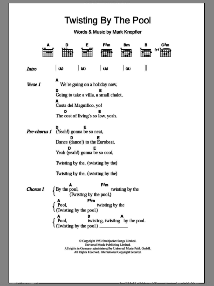 Twisting By The Pool sheet music for guitar (chords) by Dire Straits and Mark Knopfler, intermediate skill level