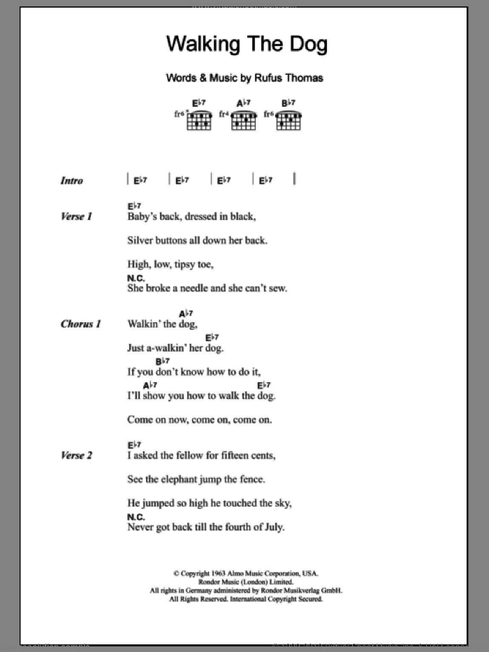 Walkin' The Dog sheet music for guitar (chords) by Rufus Thomas. Score Image Preview.