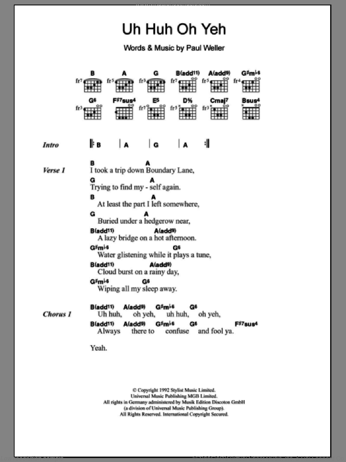Uh Huh Oh Yeh sheet music for guitar (chords) by Paul Weller. Score Image Preview.