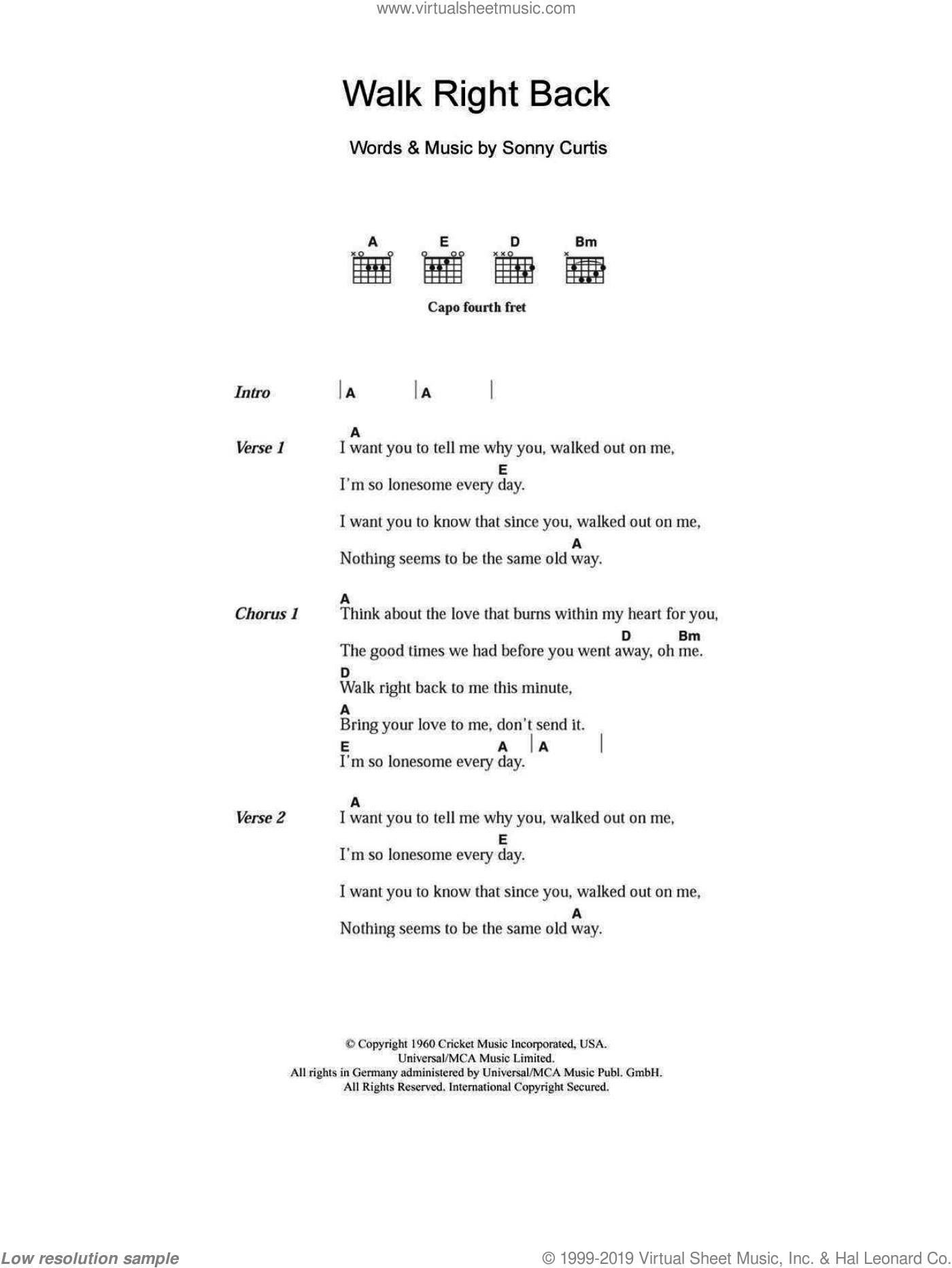 Everly Brothers - Walk Right Back sheet music for guitar (chords)